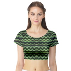 Modern Wavy Stripes Pattern Short Sleeve Crop Top