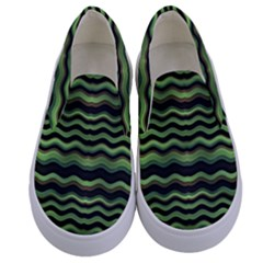 Modern Wavy Stripes Pattern Kids  Canvas Slip Ons