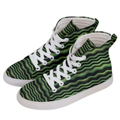 Modern Wavy Stripes Pattern Men s Hi Top Skate Sneakers by dflcprints
