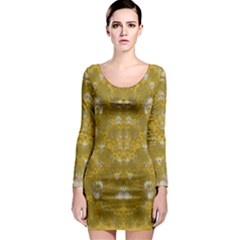Golden Stars In Modern Renaissance Style Long Sleeve Bodycon Dress