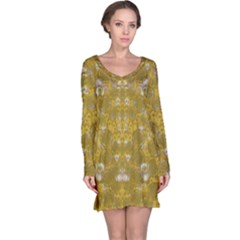 Golden Stars In Modern Renaissance Style Long Sleeve Nightdress