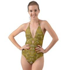 Golden Stars In Modern Renaissance Style Halter Cut Out One Piece Swimsuit