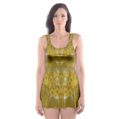 Golden Stars In Modern Renaissance Style Skater Dress Swimsuit
