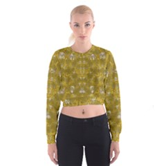 Golden Stars In Modern Renaissance Style Cropped Sweatshirt