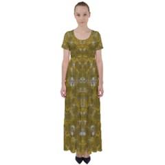 Golden Stars In Modern Renaissance Style High Waist Short Sleeve Maxi Dress