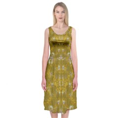 Golden Stars In Modern Renaissance Style Midi Sleeveless Dress
