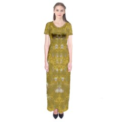 Golden Stars In Modern Renaissance Style Short Sleeve Maxi Dress