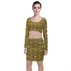 Golden Stars In Modern Renaissance Style Long Sleeve Crop Top & Bodycon Skirt Set