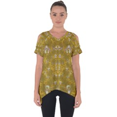 Golden Stars In Modern Renaissance Style Cut Out Side Drop Tee