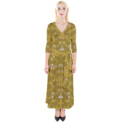 Golden Stars In Modern Renaissance Style Quarter Sleeve Wrap Maxi Dress