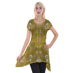 Golden Stars In Modern Renaissance Style Short Sleeve Side Drop Tunic