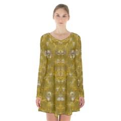 Golden Stars In Modern Renaissance Style Long Sleeve Velvet V Neck Dress