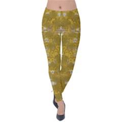 Golden Stars In Modern Renaissance Style Velvet Leggings