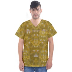 Golden Stars In Modern Renaissance Style Men s V Neck Scrub Top