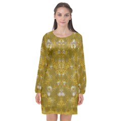 Golden Stars In Modern Renaissance Style Long Sleeve Chiffon Shift Dress