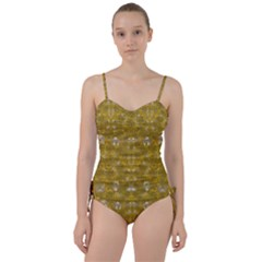 Golden Stars In Modern Renaissance Style Sweetheart Tankini Set