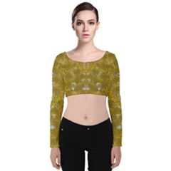Golden Stars In Modern Renaissance Style Velvet Crop Top