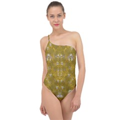 Golden Stars In Modern Renaissance Style Classic One Shoulder Swimsuit