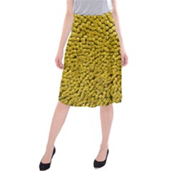Sunflower Head (helianthus Annuus) Hungary Felsotold Midi Beach Skirt