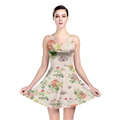 Vintage Flowers Wallpaper Pattern Reversible Skater Dress