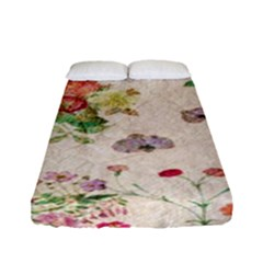 Vintage Flowers Wallpaper Pattern Fitted Sheet (full/ Double Size)