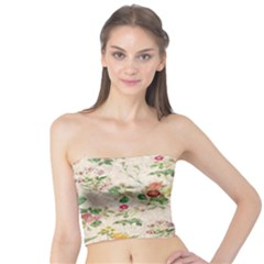 Vintage Flowers Wallpaper Pattern Tube Top