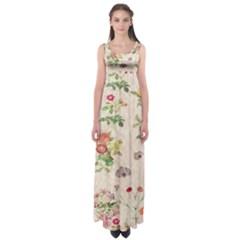 Vintage Flowers Wallpaper Pattern Empire Waist Maxi Dress
