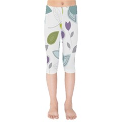Leaves Flowers Abstract Kids  Capri Leggings