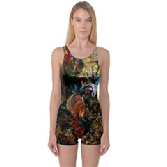 Flowers And Mirror One Piece Boyleg Swimsuit