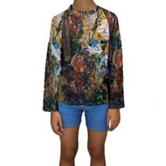 Flowers And Mirror Kids  Long Sleeve Swimwear