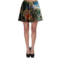 Flowers And Mirror Skater Skirt