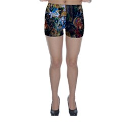 Flowers And Mirror Skinny Shorts