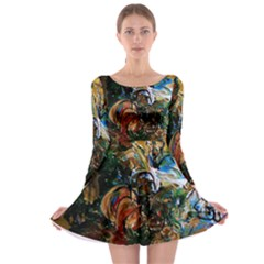 Flowers And Mirror Long Sleeve Skater Dress