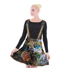 Flowers And Mirror Suspender Skater Skirt