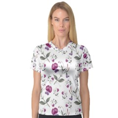 Floral Wallpaper Pattern Seamless V Neck Sport Mesh Tee