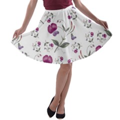 Floral Wallpaper Pattern Seamless A Line Skater Skirt