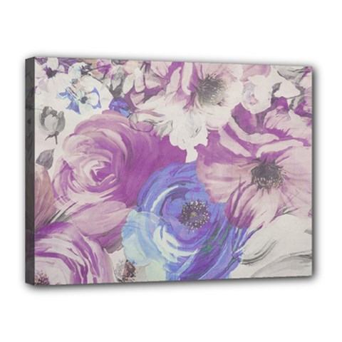 Floral Vintage Wallpaper Pattern Pink White Blue Canvas 16  X 12