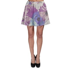 Floral Vintage Wallpaper Pattern Pink White Blue Skater Skirt