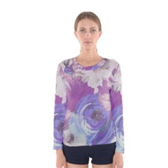 Floral Vintage Wallpaper Pattern Pink White Blue Women s Long Sleeve Tee