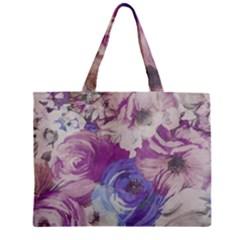 Floral Vintage Wallpaper Pattern Pink White Blue Zipper Mini Tote Bag