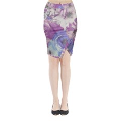 Floral Vintage Wallpaper Pattern Pink White Blue Midi Wrap Pencil Skirt