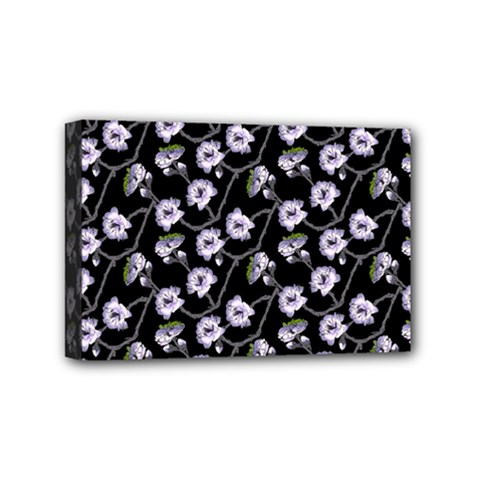 Floral Pattern Black Purple Mini Canvas 6  X 4