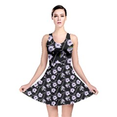 Floral Pattern Black Purple Reversible Skater Dress