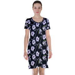 Floral Pattern Black Purple Short Sleeve Nightdress