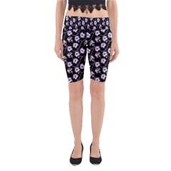 Floral Pattern Black Purple Yoga Cropped Leggings