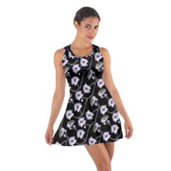 Floral Pattern Black Purple Cotton Racerback Dress