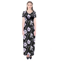 Floral Pattern Black Purple Short Sleeve Maxi Dress