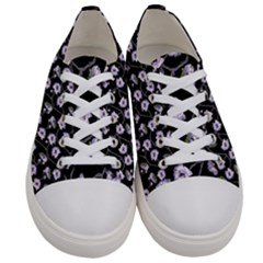 Floral Pattern Black Purple Women s Low Top Canvas Sneakers