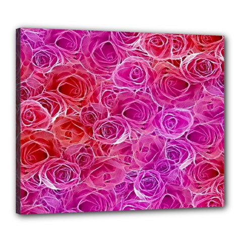 Floral Pattern Pink Flowers Canvas 24  X 20