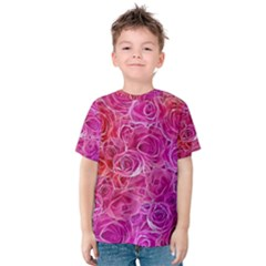 Floral Pattern Pink Flowers Kids  Cotton Tee
